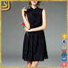 ShangYi women female fashion designs black sleeveless embroidery casual dresses