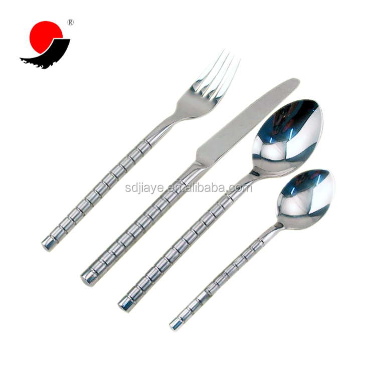 Three Ring Silver Handle Kitchen Utensil Cutlery Flatware Four Set