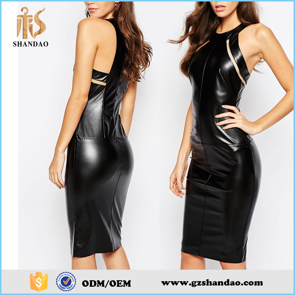 2016 top fashion sexy black sleeveless party wear leather dress patterns