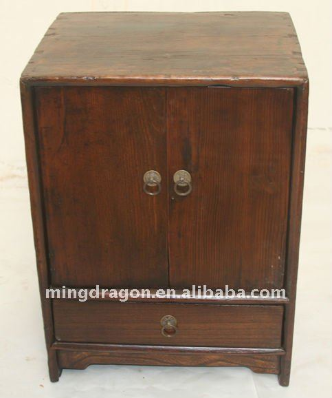 Chinese Antique Old Wood Colour bedside cabinet with one drawer two door 38*33*51cm
