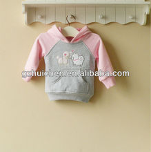 2013 baby clothing 100% cotton girl swearshirt sport