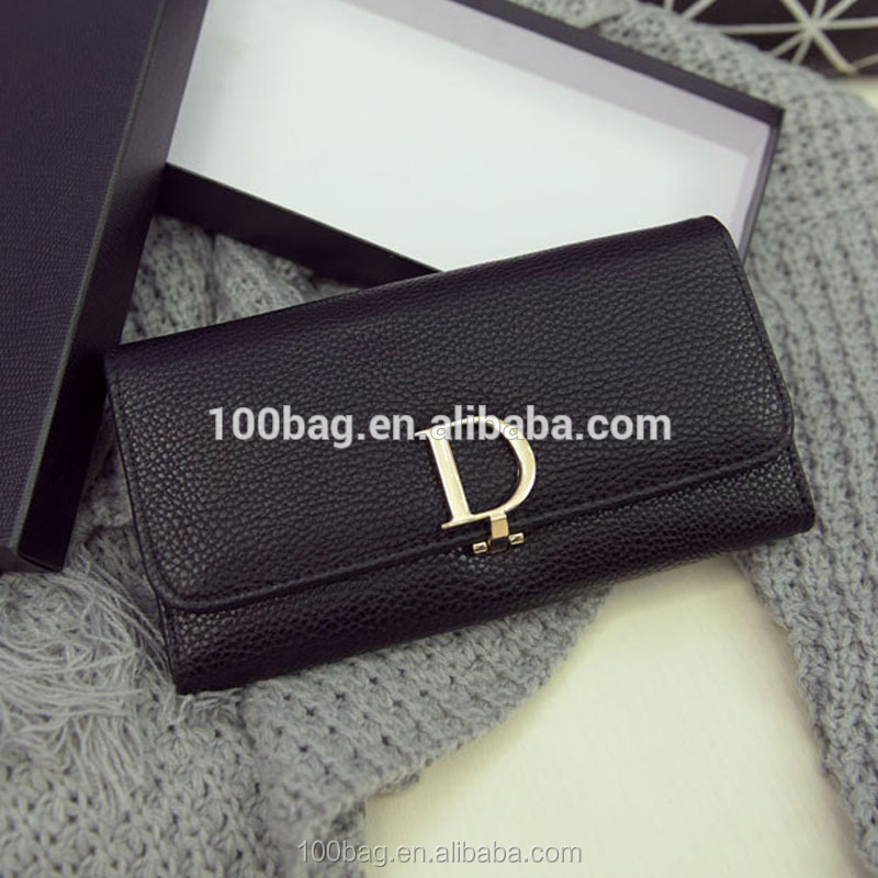 Handbags 2016 new fashion trend of the D word generous leather clutch wallet long section of zero Miss Qian Bao wallet