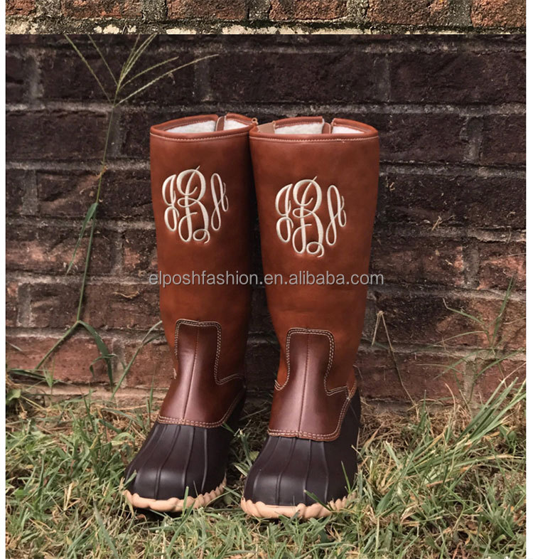 New Design Women Fur Lining Monogram Tall Duck Boots