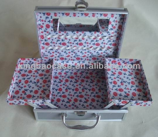 Floral canvas Cosmetic Bag,double drawer profational makeup case with mirror,gray make up drawer case