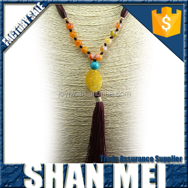 custom men's agate beads necklace,tassel necklace,yiwu manufacture