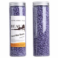 Creamy Taste Depilatory Pearl Hard Wax Brazilian Granules Hot Film Wax Bead For Hair Removal (450g/10oz, Lavender smell)