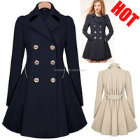 2015 Women Winter Fashion Double Breasted Winter Women Coat With Ruffle Skirt PW-CS-9958
