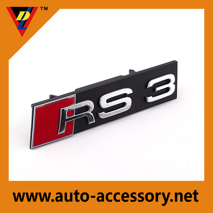 Plastic chrome RS3 car front grille auto emblem