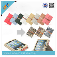 Hot selling buckle loop leopard print leather case for iPad mini 1/2/3/4 with stand function