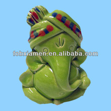 Novelty Ceramic Green Carved Ganesh Idols