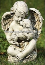 Lovely child play with dog raw carving stone sculpture