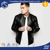 Custom Fashin Black Plain Suppliers Men Leather Jacket In Pakistan Sialkot