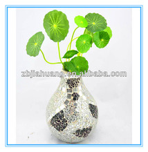 Crackle Glass Mosaic Mirror Vase For Table Decor