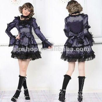 Purple Cotton Floral Lace Sleeveless Sweet Lolita Dress 81067