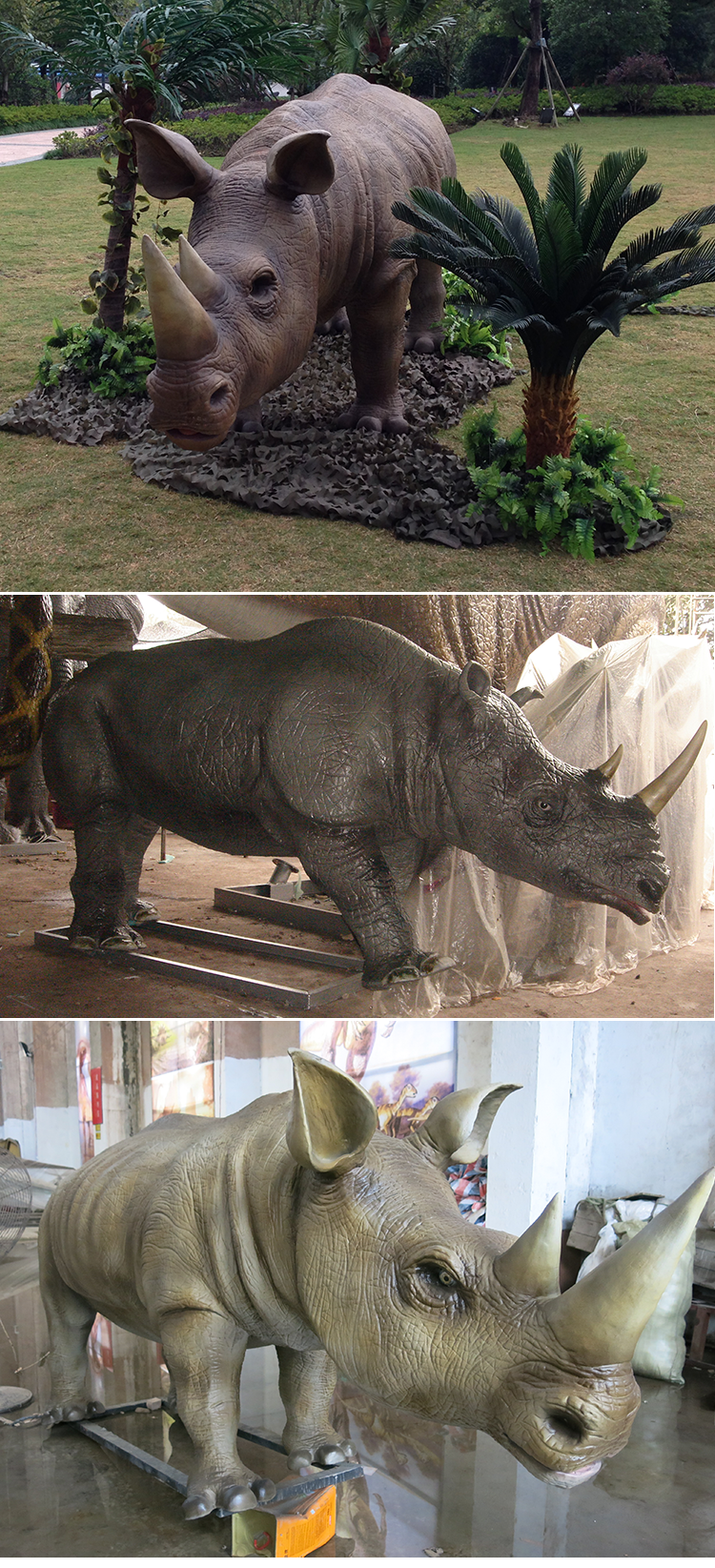 KANO1068 Decorative Realistic Handmade Animatronic Rhino Sculpture