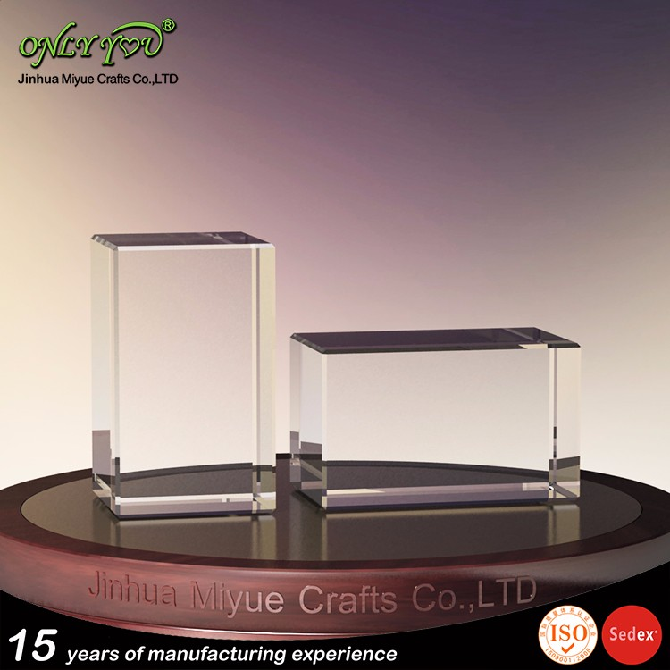 Factory price clear raw blank solid crystal glass cube block customized logo