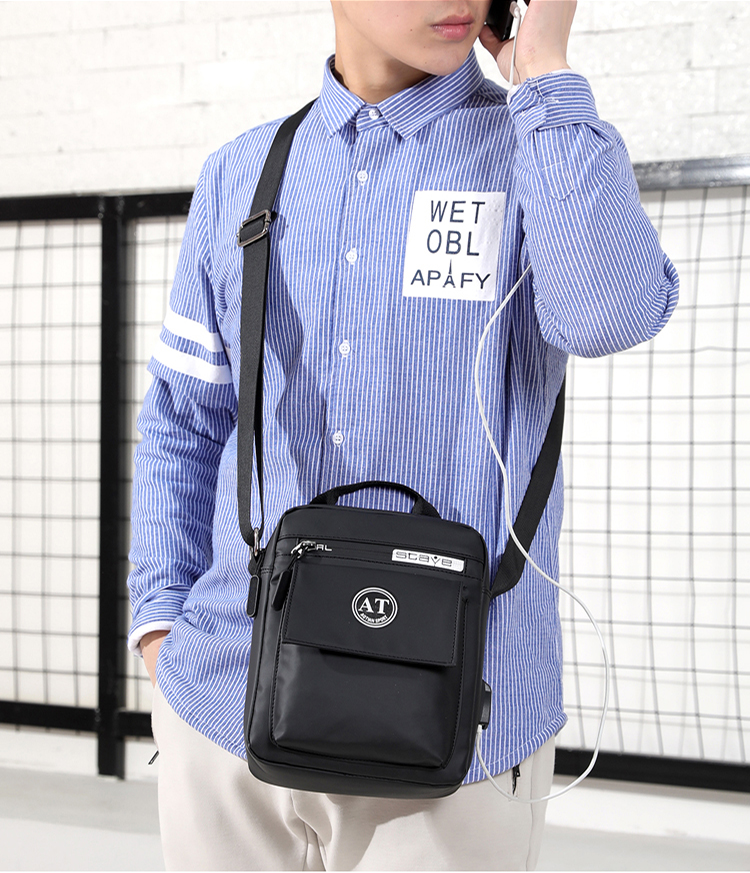 Waterproof Nylon Business Casual Small Men Shoulder Sling Bags Satchel crossbody messenger bag for man