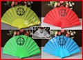 Yellow and beautiful plastic hand fan for gift