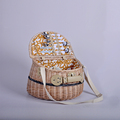Eco-friendly China Factory Wholesale Price Natural Wicker Picnic Basket with shoulder strap