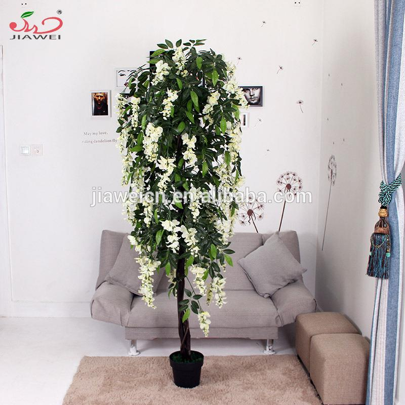 Wholsale fabric flowers and leaf tall artificial trees for sale
