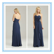 Floor-Length Sweetheart Neckline Ruched Chiffon Navy Blue Plus Size Bridesmaid Dresses( BDAL-4020)