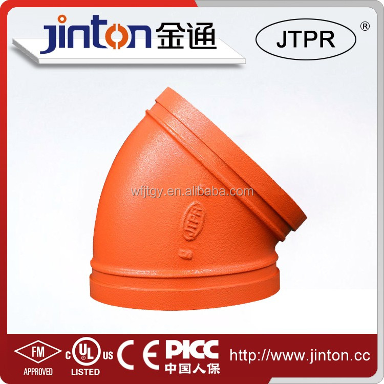 China made exported 45 degree cast iron pipe fitting bend/elbow