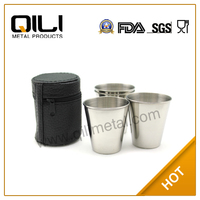 18/8 FDA 1oz stainless steel cool/personalized drinking glasses with leather case