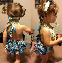 Baby Girl Floral Bodysuit Ruffle Dress Romper Jumper with Headband
