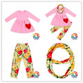 Latest Fashion Design Girls Valentine's Day Clothes Custom Floral Leggings Valentine Outfits Set