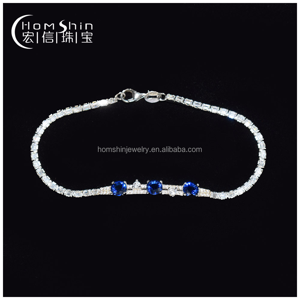 Classic style 925 silver cz bracelet with sapphire stone