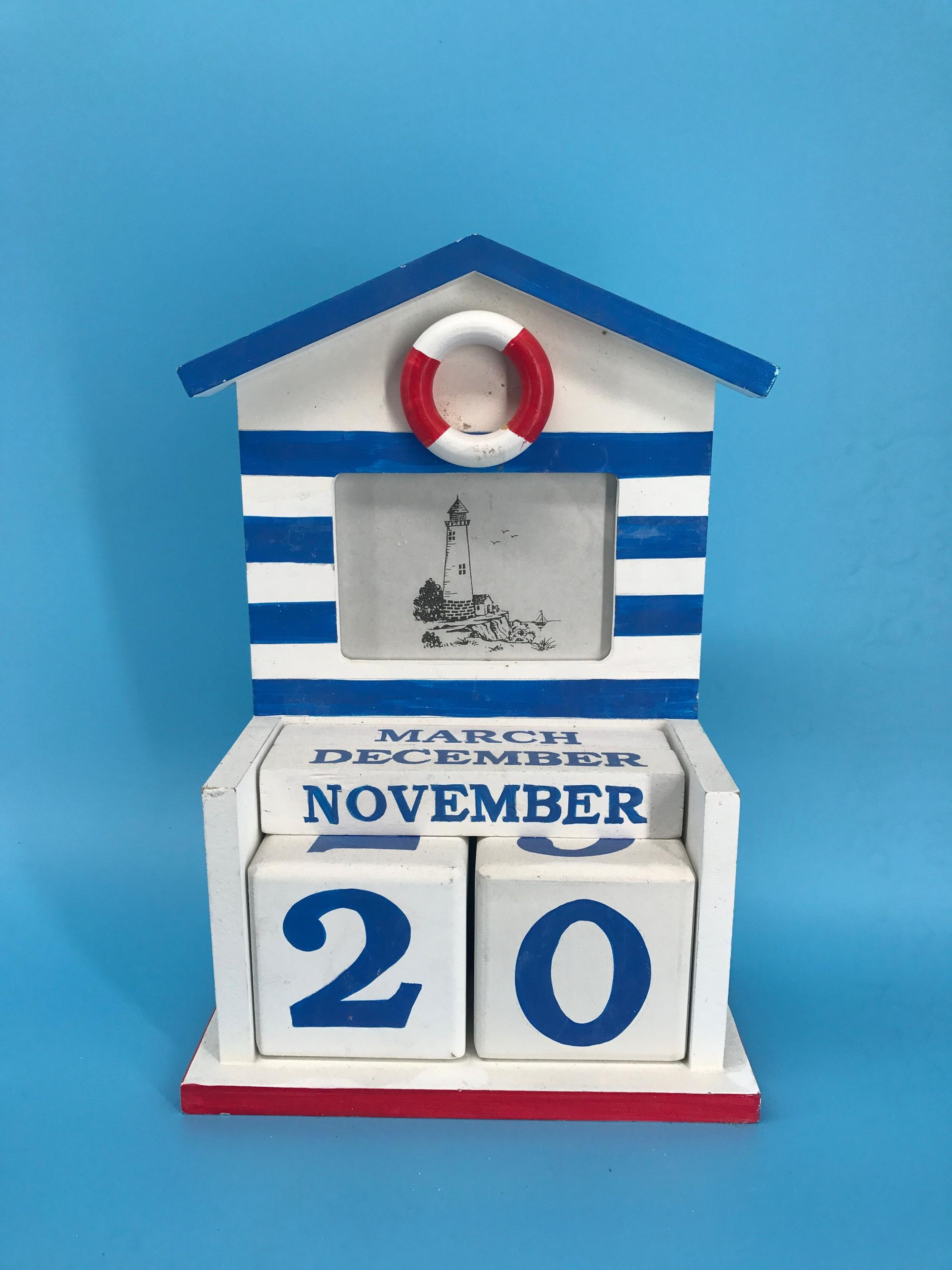Ocean Wood desk calendar with Picture Frame