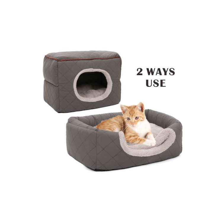 Factory direct sale cute cat cave bed,pet cave gray
