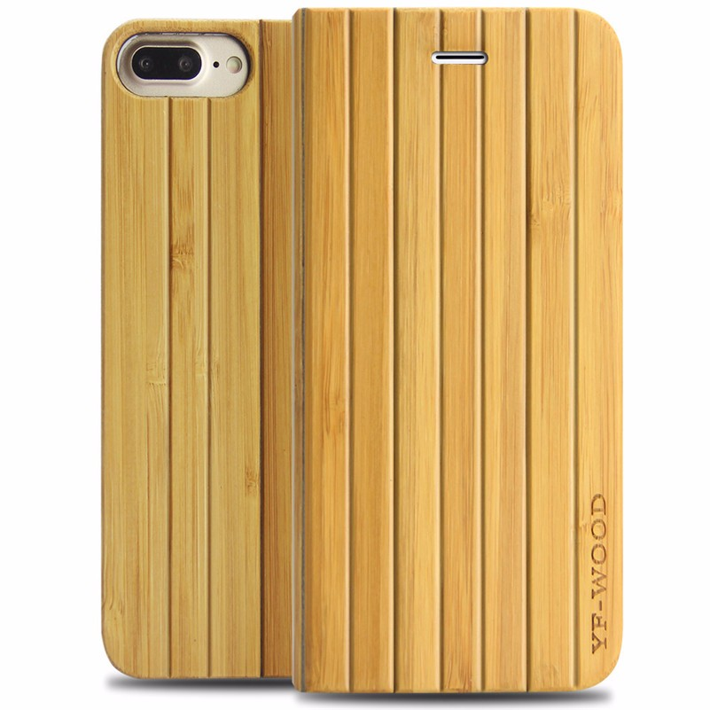 Wholesale YFWOOD brand High Quality Natural Wooden Mobile Cell Phone Shell Flip Cover For iPhone 7 Plus 5.5""