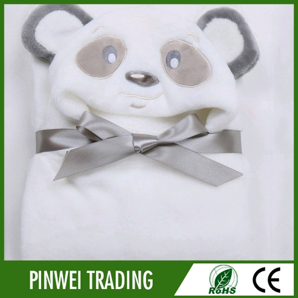 wholesale animal head plush baby blanket embroidery pattern