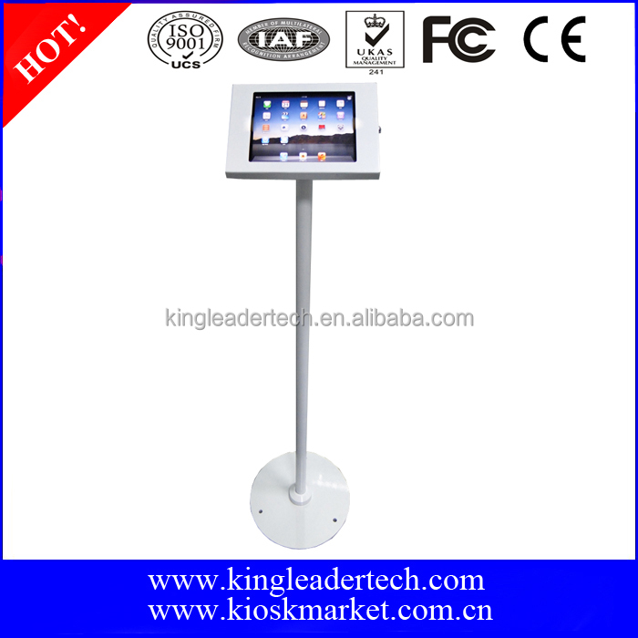 Freestanding rugged security floor stand for ipad 9.7 tablet pc