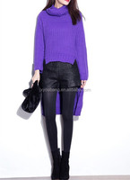Thick heavy weight Knit turtleneck purple different length in front and back fashion sweater