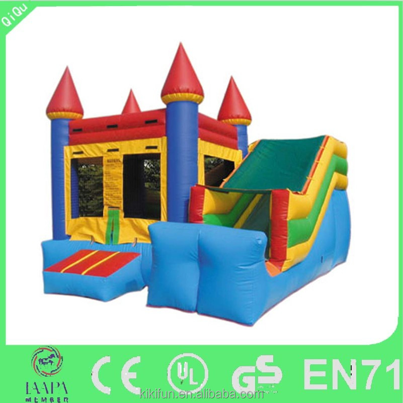 Hot regular bouncer type and PVC material inflatable bounce house combo, colorful inflatable bouncy castle with slide