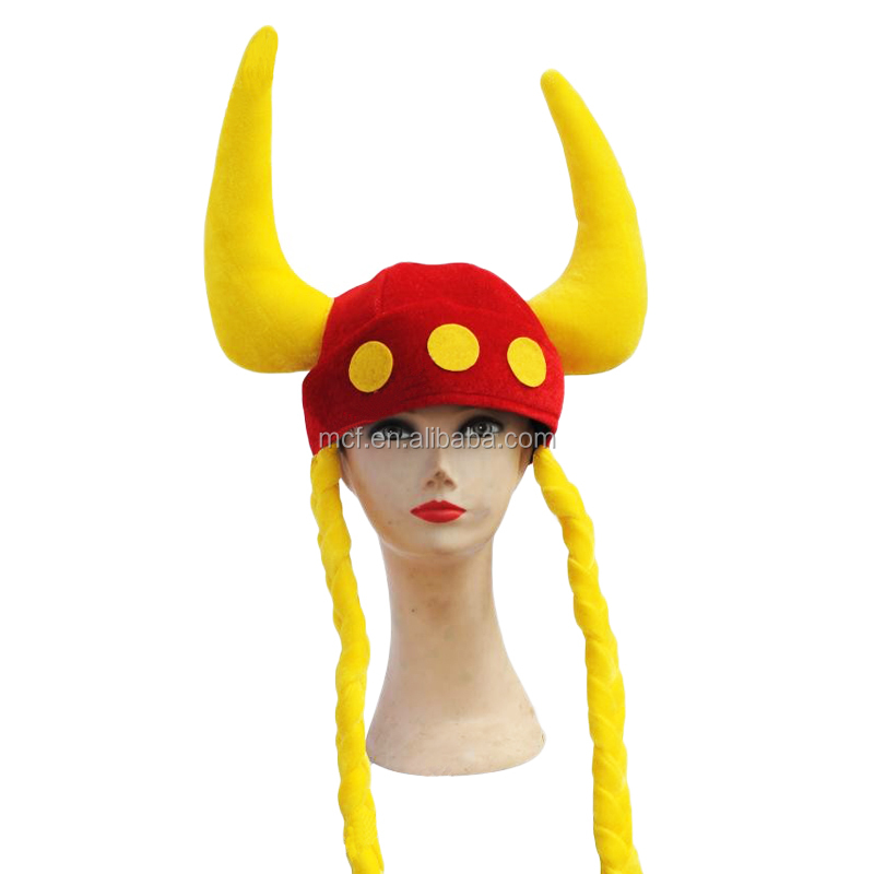MCH-1007 Party Carnival funny plush bull hron hat adult soccer match fans devil horns Hat with braids
