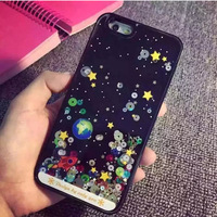 Glitter Starry Sky Night Space Stars Design Dynamic liquid Quicksand Case For iPhone 6 6plus Plastic Hard Back Cover