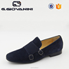 Navy Double-buckle suede shoes men loafer shoes summer shoes