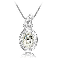 Chinese Stlye Tiger of Chinese Zodiac Swarovski Element Chain Necklace