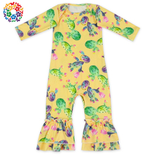 Wholesale Baby Girls Many Printing Long Sleeve Onesie Ruffle Floral Baby Flutter Sleeve Romper
