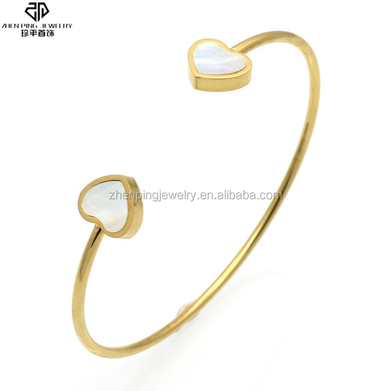 Retro style stainless steel simple gold bangle designs with shell