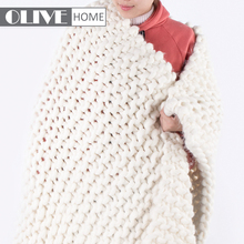 2018 Wholesales Super Giant Throw Handmade Heavy Chunky Knitted Blanket