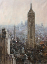 New Arrival Handmade Oil Painting on Canvas Brown New York Cityscape Top View Wall Art Decoration