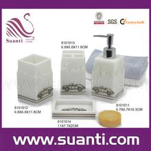 Suanti Home Fashions Countertop 4-Piece Square Resin Bath Accessory Sets in White with Tniy Car