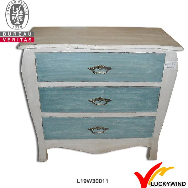 3 drawers white and blue rustic wooden antique commode