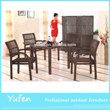 aluminum rattan glass top tables and chairs