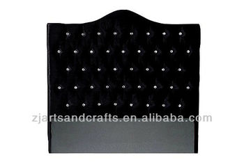 8003 modern head board ( birch wood/black velvet fabric/diamond button )