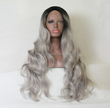 Fashion Grey Lace Front Wig Ombre Natural Black/Silver Grey Body wave Hair Wigs soft and smooth full lace wig